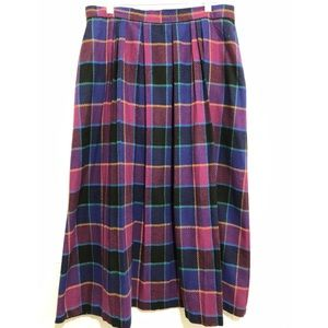 Vtg Purple Plaid Tartan Wool Blend Midi Skirt 16